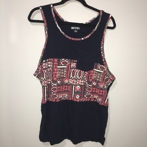 Bevel tribal pocket navy red tank top hipster